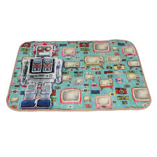 Funky Rugs Super Soft Play Mat Funky Robot Blue Multi Rugs From Carpet