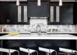 Modern White Glass Metal Backsplash Espresso Kitchen Cabinet - Kitchen with backsplash