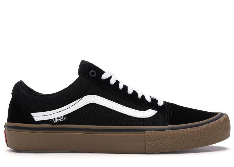 Vans Old Skool Pro (Black/White/Medium Gum) Skate Shoes-9.5