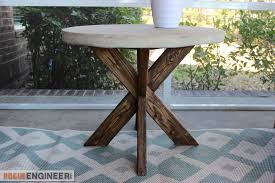 Free Woodworking Plans Round Coffee Table by Diy X Brace Side Table W Concrete Top Free U0026 Easy Plans