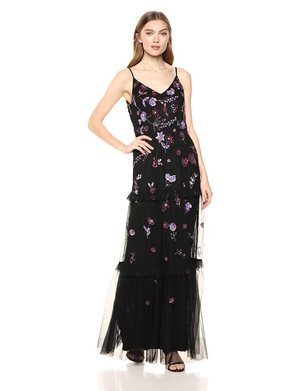Adrianna Papell Sequined Tiered Evening Dress Black 10