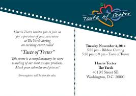 Invitation Card Store Grand Opening Of Harris Teeter In Washington D C
