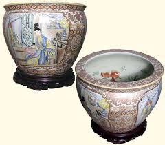 chinese porcelain fish bowl planter with japanese geisha design