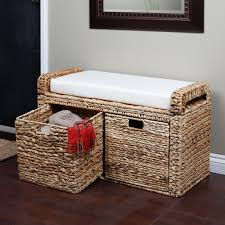 for the entryway maybe banana leaf wicker storage bench 199 99