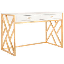 White Bedroom Desk Furniture by Worlds Away Cordelia White And Gold Desk Zinc Door
