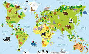 Kids World Map Cartoon Animals World Map Illustrations Creative Market
