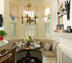 Dining Table With Banquette Bay Window Shutters Dining Room Traditional With Banquette Bay