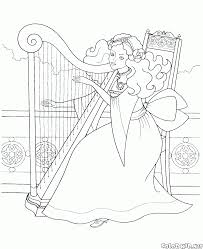 harp coloring page coloring page princess in the garden