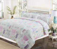 Purple Bed Sets by Twin 3 Piece Bedding Girls Comforter Bed Set Paris Eiffel Tower