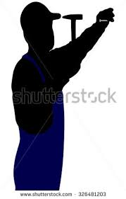 silhouette handyman hammer nail stock vector 345698747 shutterstock