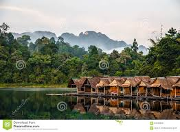 bamboo huts floating in a thai village stock photo image 64729259