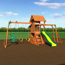 Cedar Playsets Saratoga Wooden Swing Set Playsets Backyard Discovery