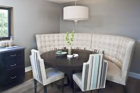 tufted white fabric banquette mixed black painted wooden dining tufted white fabric banquette mixed black painted wooden dining table with curved dining room bench and