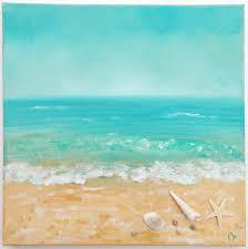 peinture de bord de mer plage peinture avec coquilles et texture par theescapeartist