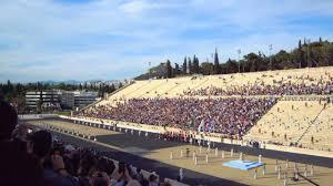 athens greece olympic flame at panathenaic stadium olympic