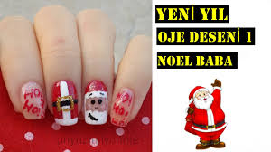 yeni yıl oje deseni 1 noel baba christmas nail art santa