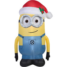 5 u0027 airblown inflatable minion dave with santa hat universal
