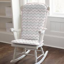 Rocking Recliner Nursery Furniture White Wooden Rocking Chair With Grey And Pink Chevron