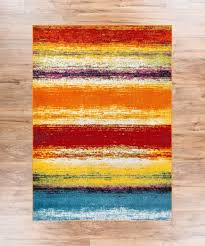 Multicolor Rug Puglia Multi Stripe Red Orange Yellow Blue Stripe Modern Geometric