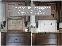 Pictures Of Kitchen Tile Backsplash I Painted Our Kitchen Tile Backsplash The Wicker House