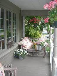 Shabby Chic Planters by Porch Hanging Flower Baskets Rustic United States With Traditional