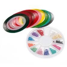 bmc mix neon color nail chains and striping tape nail polish art