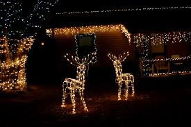 house with christmas icicle and reindeer lights picture free