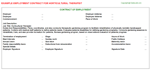 Horticultural Therapist Employment Contract Sample Horticultural Therapist Employment Contract