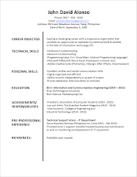 objective in resume examples sample resume format for fresh graduates one page format sample resume format for fresh graduates one page format 2