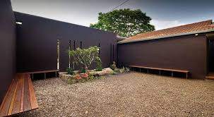 courtyard house plans exterior come with l shaped varnished wooden