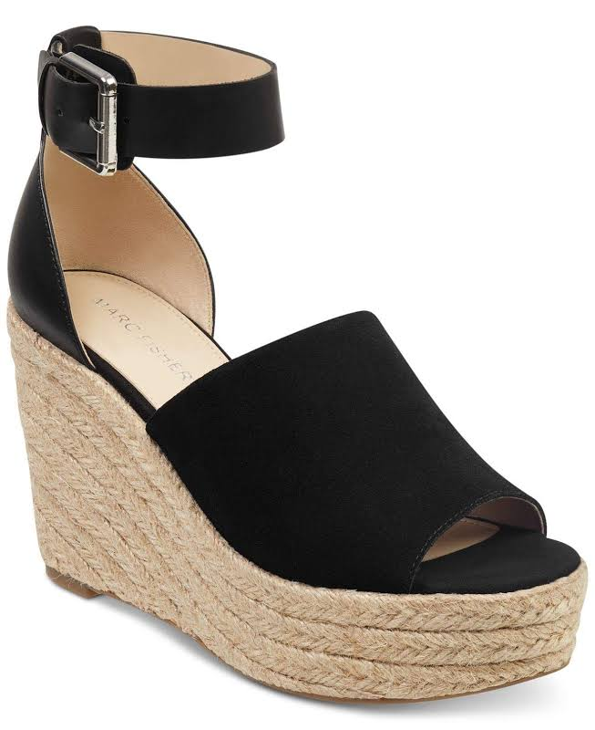Marc Fisher Cala Leather Peep Toe Ankle Strap Wedge, Black,