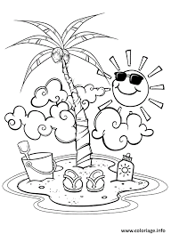 coloriage ile soleil palmier plage vacance ete dessin