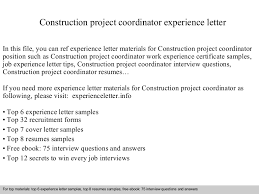 Construction Project Coordinator Resume Sample by Constructionprojectcoordinatorexperienceletter 140904114111 Phpapp02 Thumbnail 4 Jpg Cb U003d1409830895