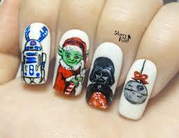 star wars on christmas yoda as santa freehand nail art
