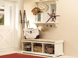 Rustic Wooden Bench With Storage Cushioned White Entry Bench With Storage Wire Mesh Basket Over