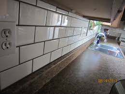 White Subway Tile Backsplash Ideas by Love White Subway Tiles With Gray Grout Love The Metal Bread Box
