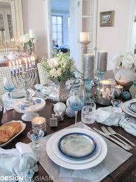 Black Blue And Silver Table Settings Candlelit Festival Of Lights Hanukkah Table Setting