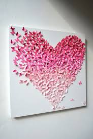 89 best lovely home accents and home decor accessories images on pink ombre butterfly heart butterfly wall art easy to make this a diy project cut little tiny butterflies in ombre colors and glue in the shape of a