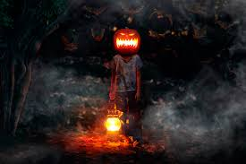 halloween background of wich wich walking between monster pumpkins in cemetery