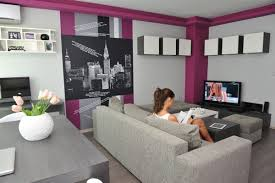 Modern Room Nuance Apartment Fancy Purple Nuance Room In Apartment Furniture Ideas