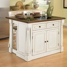 shop home styles white midcentury kitchen island with 2 stools at