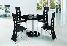 Interesting Round Black Glass Dining Table And  Chairs  For - Black dining table for 4