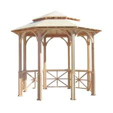 Outdoor Patio With Roof by Samsgazebos 10 Ft Octagon English Cottage Garden Gazebo With Two