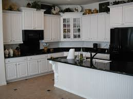 surprising white l shaped white cabinets added black granite