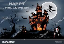 happy halloween background pumpkin haunted house stock vector