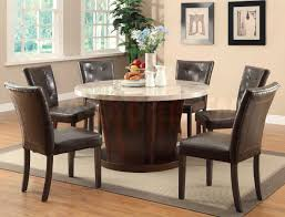 Modern Kitchen Chairs Leather Brown Wooden Dining Table With Round White Granite Top Combined By