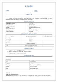 resumes format for freshers fresher resume format