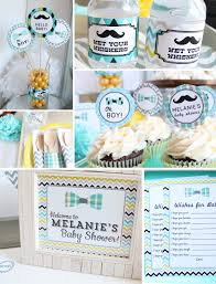 mustache baby shower decorations package boy gray yellow blue