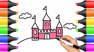 learn colors how to draw and color castle drawing simple castle