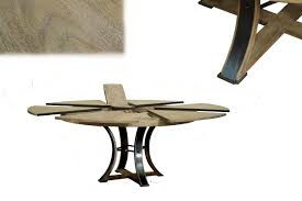 round to round transitional gray oak jupe table with leaves